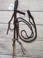 Dark Leather Browband Headstall w/Reins
