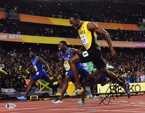 809498fa4553cc Usain Bolt Signed 11x14 Photo  Track And Field  Olympic Gold Medalist BAS  C39800