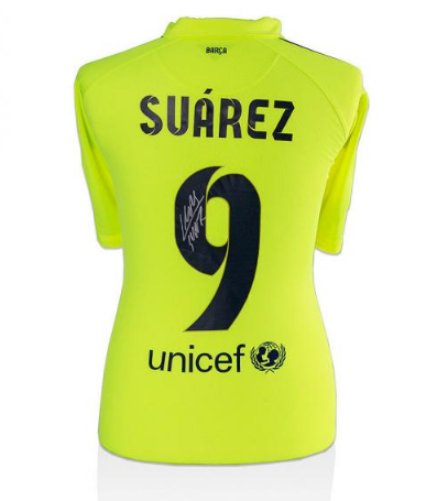 15eee92a30fd9 Autographed Luis Suarez Jersey - Number 9 Away Shirt – Buy A ...
