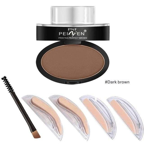 Huamianli Eyebrow Powder Stamp - Dark Brown - Health & Care