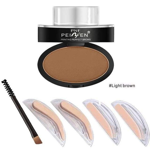 Huamianli Eyebrow Powder Stamp - Light Brown - Health & Care