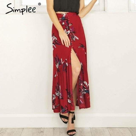 Simplee High Waist Boho Long Skirt - Red / S - Clothing