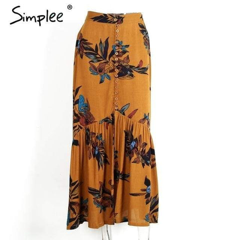 Simplee High Waist Boho Long Skirt - Yellow / S - Clothing
