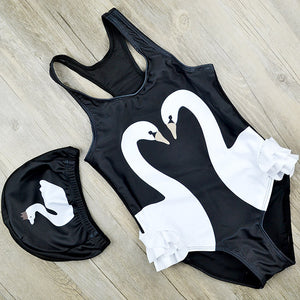 Swan Girls Bathing Suit and Swim Cap (Size 12M to 16 Years)