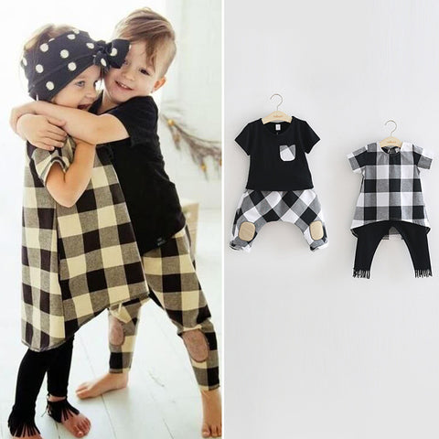 Twin Sister Brother Matching Sibling Plaid Outfit (Size 3T to 7 Years)