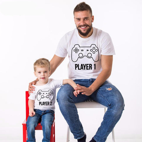 Parent and Child Player 1 and 2 Gamer T-Shirt (Child Size 12M to 4T)