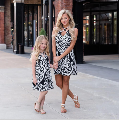 Black and White Mother and Daughter Floral Dress (Child Size 12M to 10 Years)