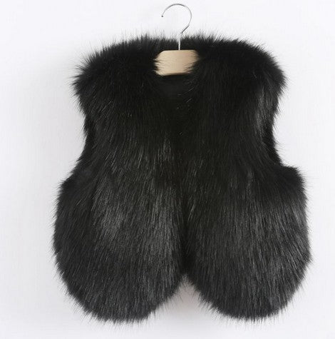 Black Faux Fur Mother and Daughter Matching Vests (Child Size 6M to 12 Years)