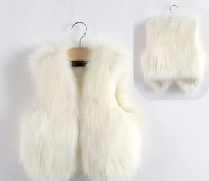 White Faux Fur Mother and Daughter Matching Vests (Child Size 6M to 10 Years)
