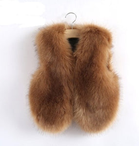 Tan Faux Fur Mother and Daughter Matching Vests (Child Size 6M to 10 Years)