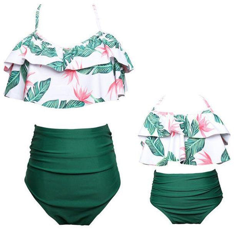 Tropical Green High Waist Swim Suit (Child Size 2T to 9 Years)