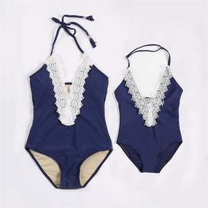 Navy and Lace One Piece Swimsuit (Child Size 3T to 7 Years)