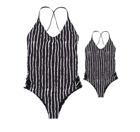 Black Stripe One Piece Swimsuit (Child Size 3T to 8 Years)