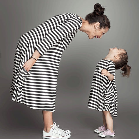 Mommy and Me Mother Daughter Stripe Swing Dress (Child Size 2T to 5T)
