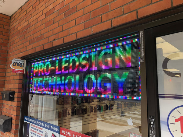 "28 x 65"" / 78"" / 91"" / 103"" Full-color LED Scrolling Sign for Store Windows and Semi-outdoor"