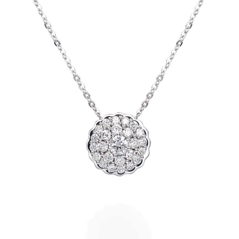 TWIST NECKLACE SURROUNDED WITH DIAMONDS