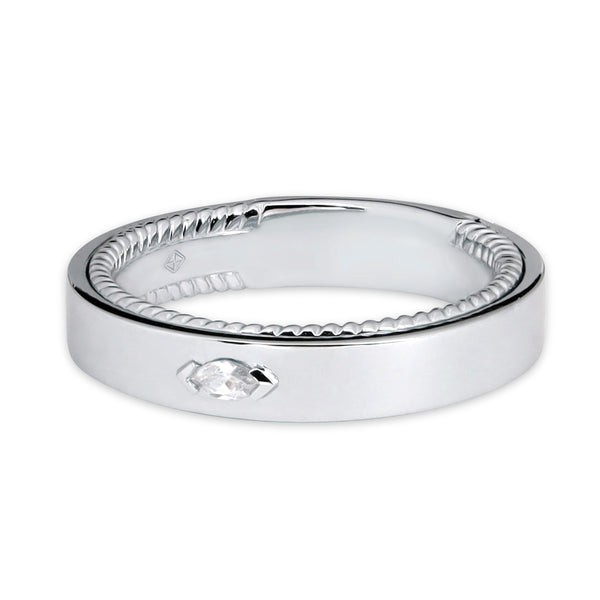 CLASSIC MAN WEDDING BAND WITH TWIST INSIDE BAND & MARQUISE DIAMOND