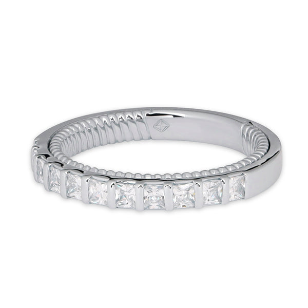 SQUARE HALF ETERNITY WEDDING BAND WITH TWIST INSIDE BAND