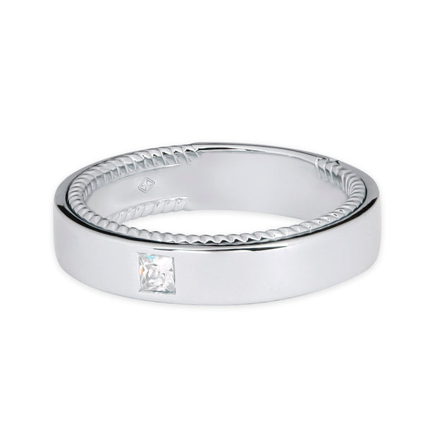 CLASSIC MAN WEDDING BAND WITH TWIST INSIDE BAND & SQUARE DIAMOND