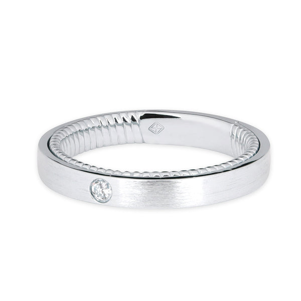 CLASSIC WOMEN WEDDING BAND WITH TWIST INSIDE BAND & ROUND DIAMOND