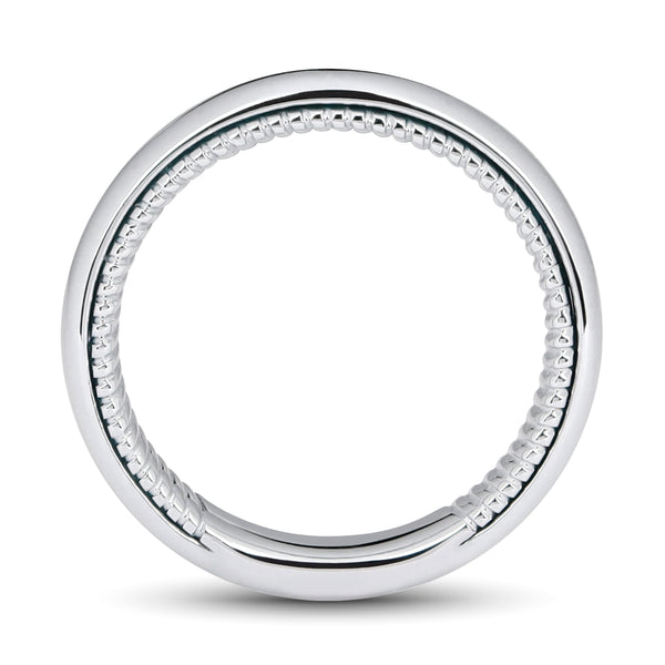 CURVE MEN WEDDING BAND WITH TWIST INSIDE BAND