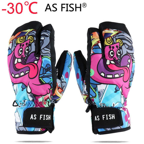 AS FISH Ski Gloves Women & Men Snowboard Mittens Cartoon Style