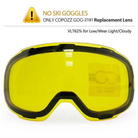 COPOZZ GOG-2181 Lens Yellow Graced Brightening Night Magnetic Lens Replacement for Ski Goggles