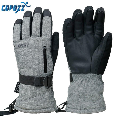 COPOZZ Grey Ski Gloves (Touchscreen Function)