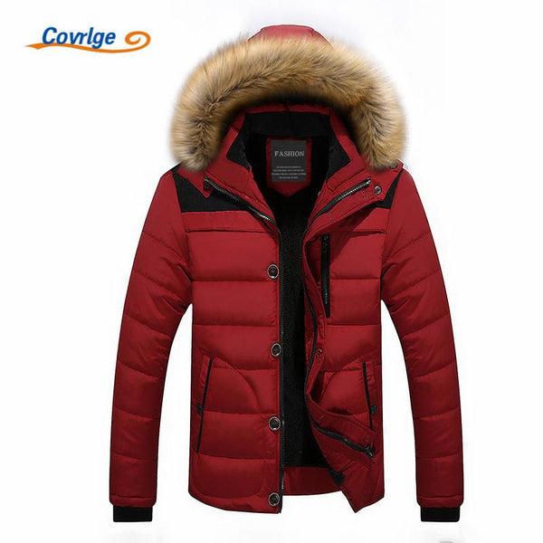 COVRIGE Mens Fur Hooded Quilted Parka Down Jacket