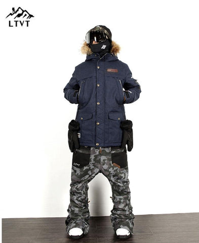 LTVT Guys Camouflage Mixed Snowboarding Jacket & Pants Set