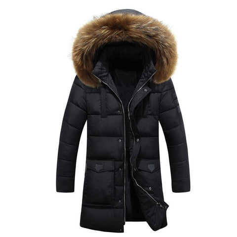 PARKA Winter Puff Jacket With Fur Hood - Manteau long pour homme