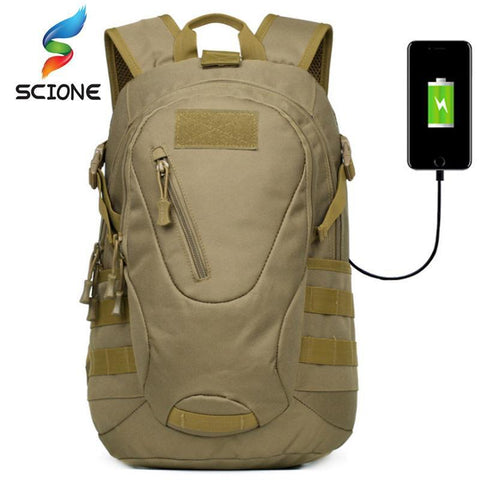 SCIONE 30L Waterproof Nylon Sports Backpack With External USB Charging