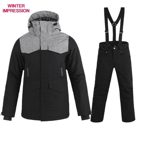 WINTER IMPRESSION Mens Brushed Grey & Black Snowboarder Jacket / Pants
