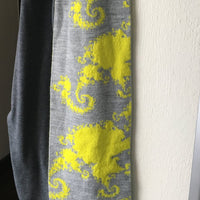 Mandelbrot 22: Spiral Galaxies - Highlighter Yellow and Grey Acrylic Scarf