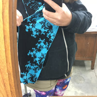 Mandelbrot 15: De-orbiting Satellites - Bright Turquoise and Black Bamboo Scarf