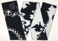 Mandelbrot 12: Fractal Curls - Black and White Acrylic Scarf - Second - ships 12/27/17