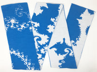 Mandelbrot 12: Fractal Curls - Blue and White Acrylic Scarf - ships 11/23/17