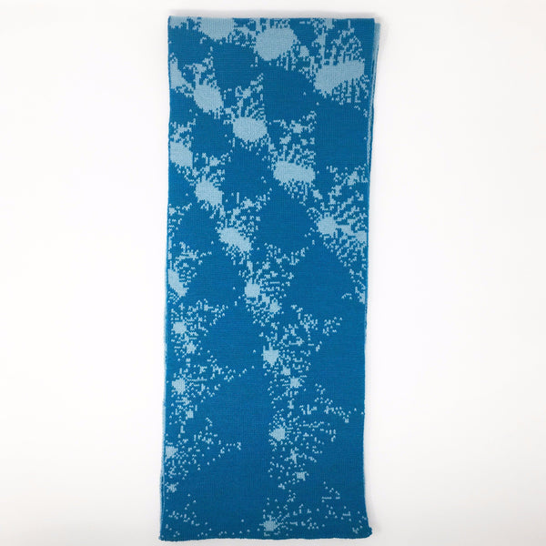 Mandelbrot 15: De-orbiting Satellites - Dark Teal and Light Teal Merino Scarf