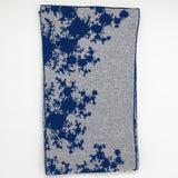 Mandelbrot 15: De-orbiting Satellites - Navy Blue and Light Grey Merino Scarf