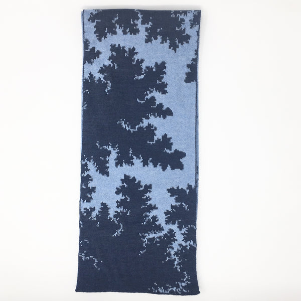Mandelbrot 16: Bolts of Lightning - Navy Blue and Light Blue Merino Scarf - ships 01/09/18