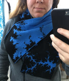 Mandelbrot 13: Clouds in my Coffee - Blue and Black Acrylic Scarf - Second - ships 11/28/17 - Second