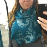 Mandelbrot 19: Fern-tastic - Green Teal and Light Teal Merino Scarf - ships 12/08/17