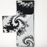Mandelbrot 21: Spiraling Into Control - Black and White Acrylic Scarf - Second