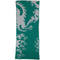 Mandelbrot 19: Fern-tastic - Forest Green and Medium Grey Merino Scarf - ships 12/08/17
