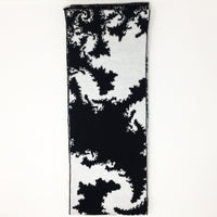 Mandelbrot 21: Spiraling Into Control - Black and White Acrylic Scarf
