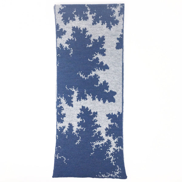 Mandelbrot 16: Bolts of Lightning - Navy Blue and Grey Merino Scarf