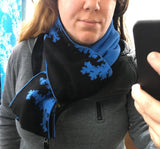 Mandelbrot 13: Clouds in my Coffee - Blue and Black Acrylic Scarf - ships 11/29/17