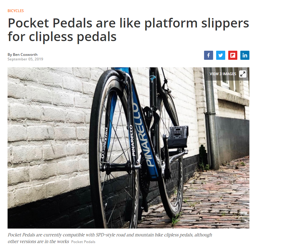 "New Atlas describes Pocket Pedals as ""platform slippers for clipless pedals"""