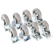 "8 fits Plate Casters 3-3/8"" Polyurethane Wheels 4 Rigid 4 Swivel Brake Tough Caster"