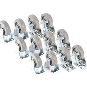 "12 fits Plate Casters 3-3/8"" Polyurethane Wheels 6 Rigid 6 Swivel Brake Tough Caster"